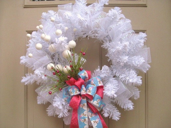 Winter Wreath - White Wreath - Winter Wonderland Holiday Decor
