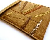 iPad sleeve - hand embroidered embellished cover - woodland leaves burgundy brown - gadget electronic tablet