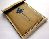 Nook hd, kindle fire sleeve, iPad mini case - hand embroidered gadget cover  - blue and brown woodland- quilt lined slim design