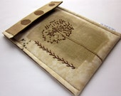 iPad mini, kindle fire sleeve, nook hd case  - hand embroidered gadget cover  - muted brown queen anne's lace - unique