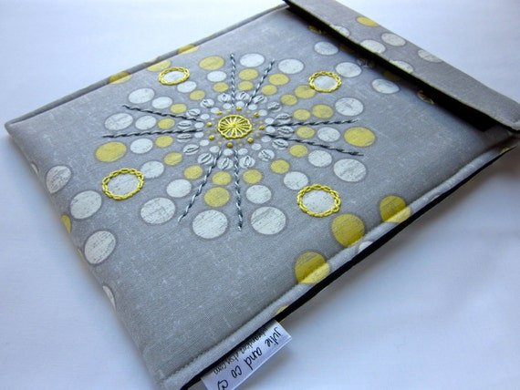 iPad sleeve - hand embroidered new iPad cover - embellished gadget case - grey yellow geometric burst - quilt lined padded bag