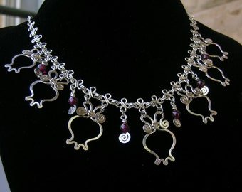 Sterling silver Garnet pomegranate necklace, Rimon handcrafted filigree necklace, statement necklace, fertility prosperity abundance, gift