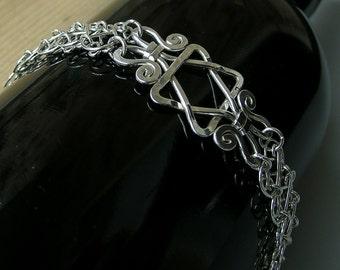 Sterling silver Star of David bracelet, magen david silver bracelet, jewish star handcrafted mesh bracelet, judaica bracelet, jewish gift
