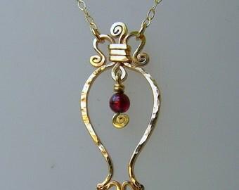 14k gold filled pomegranate necklace. RIMON garnet gold pendat, pomegranate gold necklace, fertility  prosperity necklace, judaica necklace