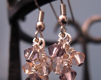 Swarovski Crystals in a Lavender Cluster Earrings REDUCED PRICE