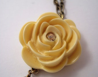 Vintage Ivory Rose & Pearls Necklace REDUCED PRICE