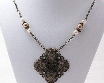 Vintage Diamond Filigree & Swarovski Pearls Necklace