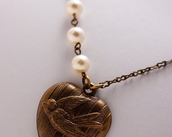 Heartfelt Birds and Pearls Necklace