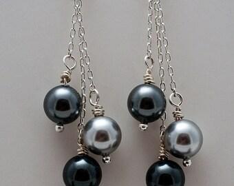 Dangling Silver & Grey Pearl Swarovski Earrings