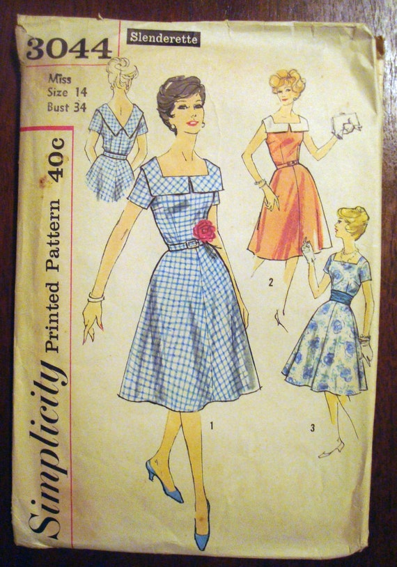 Vintage UNCUT Sewing Pattern 1950s Rockabilly Swing Dress FACTORY FOLDS Simplicity 3044 Bust 34