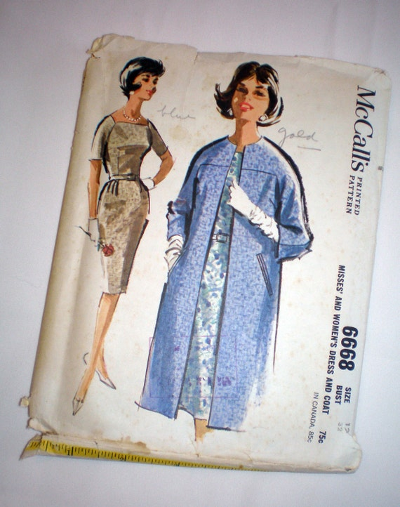 5 BUCKS Vintage McCall's 6668 Raglan Sleeve Dress and Coat Sewing Pattern 1960s Bust 32