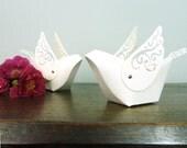 Bird Cake Topper Favor Boxes - Set of 2 Elegant Handmade Wedding Paper Doves - Unique table decor , ornament , keepsake box