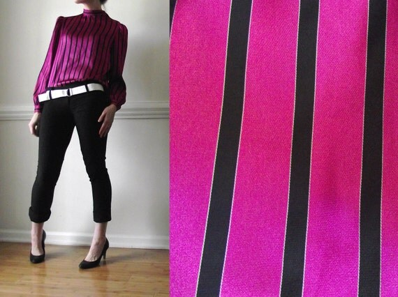 New Wave Shirt / 1970s Small Blouse / Pink Vintage