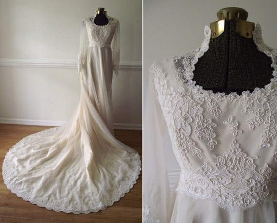 Wedding Gown with Veil / Beaded Lace Chiffon M / Empire Waist White Dress Vintage 10
