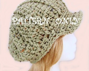 Crochet Hat Pattern - Bulky Newsboy, Messenger Hat Pattern - Instant Download - DIY Crochet Hat Instructions - Sandy Coastal Designs