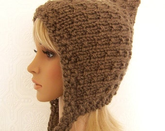 Pixie hat - hand knit hat - women's winter accessories - your color choice - handmade Winter Fashion by Sandy Coastal Designs