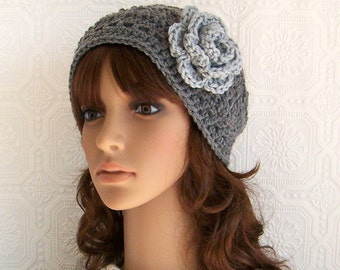 Crochet headband, headwrap, earwarmer - gray or color choice - handmade Winter Fashion Accessories by Sandy Coastal Designs made to order