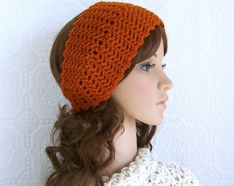 Crocheted headband, headwrap, ear warmer - pumpkin - womens accessories fall fashion handmade by Sandy Coastal Designs - ready to ship