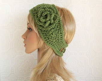 Crochet headband, headwrap, ear warmer - green - handmade Winter Fashion Accessories by Sandy Coastal Designs made to order