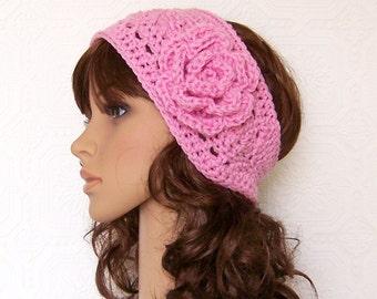 Headband, headwrap, earwarmer - pink - crochet accessories handmade Winter Fashion by Sandy Coastal Designs made to order