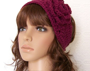 Crochet headband, headwrap, ear warmer - raspberry - handmade Winter Fashion Accessories Sandy Coastal Designs made to order