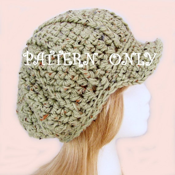 Instant Download Crochet Hat Pattern - Bulky Newsboy, Messenger Hat  - Sandy Coastal Designs
