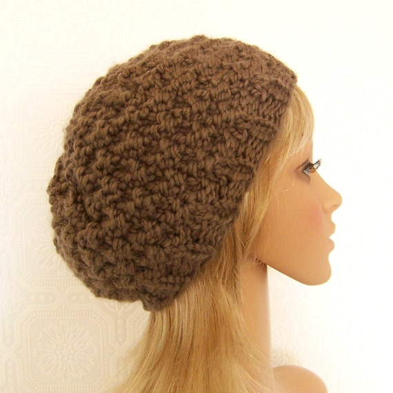 Hand knit hat - taupe or your color choice - Chunky knit beanie Winter Fashion Womens Accessories by Sandy Coastal Designs made to order