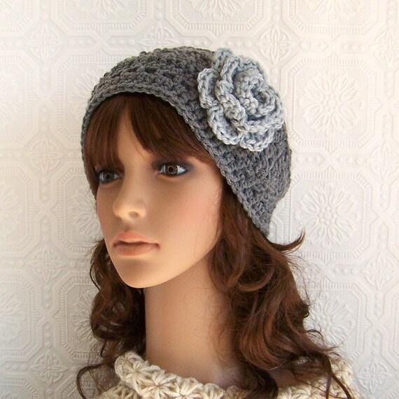 Crochet headband, headwrap, earwarmer - gray or your color choice - handmade Winter Fashion Winter Accessories by Sandy Coastal Designs