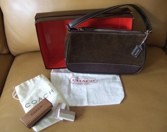 Coach Suede and Leather Shoulder Purse with Coach Nubuc Care Kit and Dust Bag