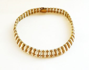 Elegant Gold Tone Mother of Pearl and Rhinestone Choker Necklace