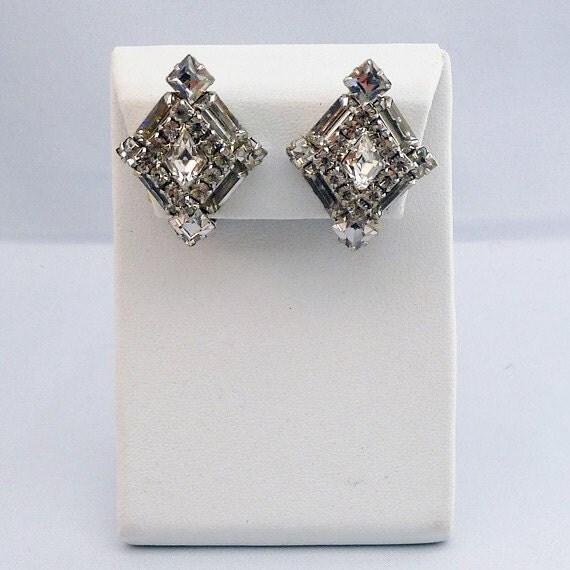 Weiss Multi Rhinestone Diamond-Shaped Earrings