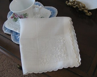 Embroidered White Hankie Made in Switzerland  by Herrmann Never Used