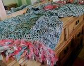 Blanket Throw: Teal, Coral, Aqua, Turquoise, Salmon, Gold Southwest Afghan. 6 Inch Fringe. Southwestern Home Decor