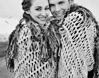 Wedding Gift for Newlywed Couple Fringe Throw Blanket Wedding Photo Prop Engagement Present Wedding Present