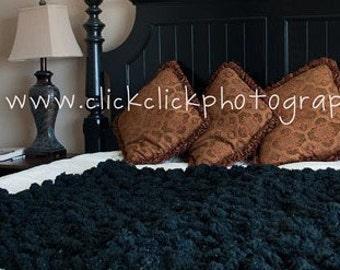 Black Pom Pom Blanket Pompom Throw Blanket. Home Decor Accent. Puff Texture Hand Knit Interior Design 4x4 Afghan Lap Warmer
