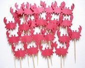 24 Red Crab Cupcake Toppers, Under the Sea, Nautical Theme Party, Baby Shower - No418