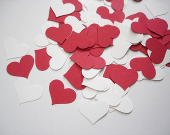100 Valentine White and Red Heart punch confetti cutout scrapbook embellishments - No165