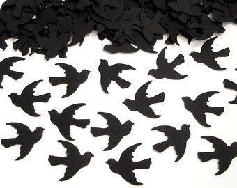 100 Black Dove Bird Confetti - Paper Crafts and Party Supplies - No338