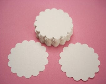 "50 - 1.5"" White Scalloped Circles Punch Tags, Gift Tags, Cupcake Toppers, Scrapbooking, Embellishments - No723"