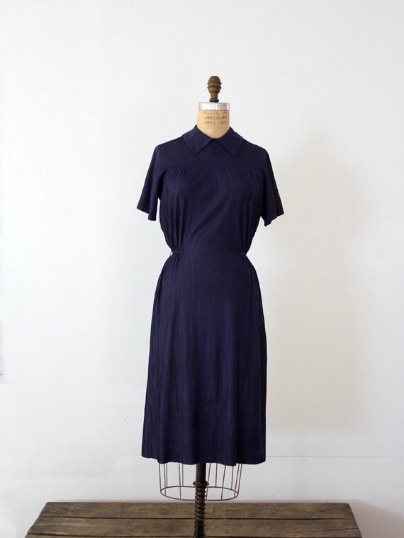 RESERVE - 1940s Navy Dress // Vintage 40s Dress
