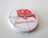 Letterpress Coasters Drinking Facts - Set of 8 in Cherry Red