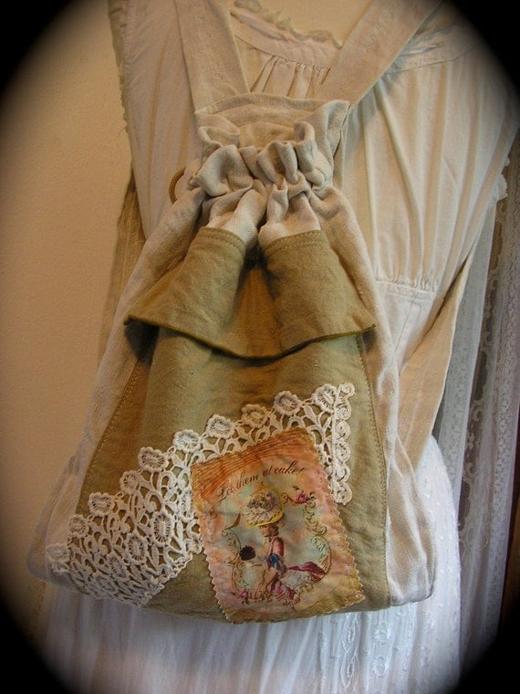 Linen Burlap Backpack, handmade French cottage farmhouse, real soft vintage fabric