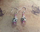 Bunny Rabbit Dangle Earrings - Pink Glass & Pewter - Sterling Silver earwires -  Wild Hare