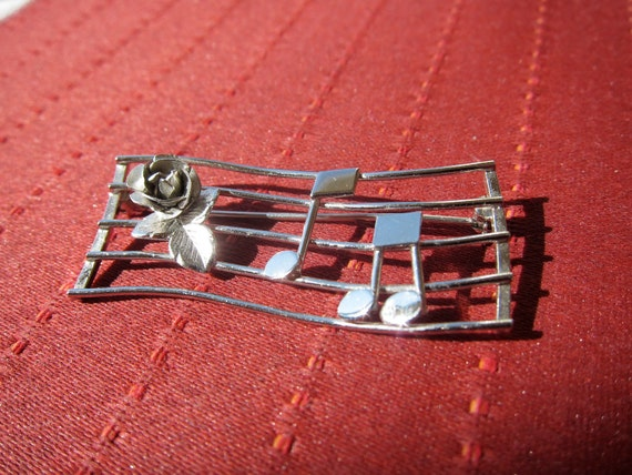 Sterling Vintage Music and Roses Jewelry Brooch marked Bond Boyd - sterling silver - pin back brooch