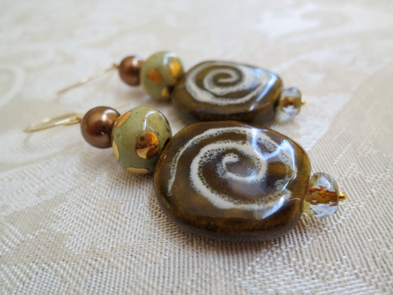 Kazuri Ceramic Bead drop earrings -14kt gold painted Brown & Green  - 14K GF handmade swirly earwires - Bronze Pearls - Kenya - African