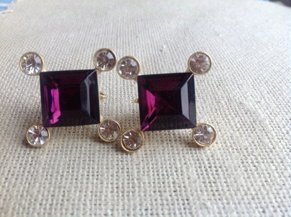 Sparkling Vintage Amethyst Crystal Vintage Adjustable Clip On Earrings - purple and rhinestone CZ cubic zirconia