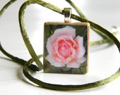 Rose Photograph Pendant - Scrabble Piece - Pink and Olive Green