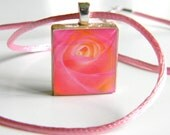 Scrabble Tile R Pendant - Pink Rose Photograph - Pink and Orange Rose