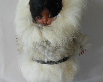 Vintage Cute Eskimo Doll with Fur trimmed clothes and Black boots