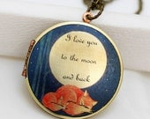 Locket Necklace,Sleepy Fox, Fox,Sleep,Jewelry,Necklace,Pendant,Red,Mom,Baby,Antiqued Locket, 32mm,I love you to the moon and back, Round Loc